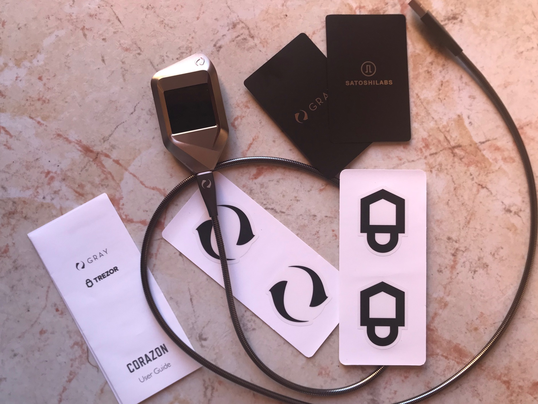 Gray Trezor Corazon Box Contents